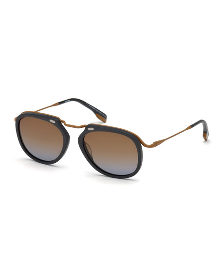 Men's Round Metal/Plastic Gradient Sunglasses