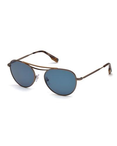 Men's Metal Aviator Sunglasses, Brown/Blue