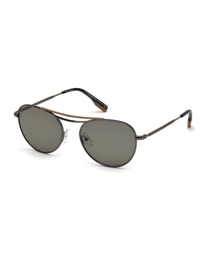 Men's Metal Aviator Sunglasses, Gray/Green