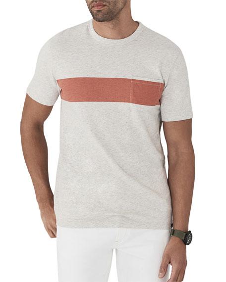 FAHERTY Men'S Surf Striped Pocket T-Shirt in Heather Grey Stripe