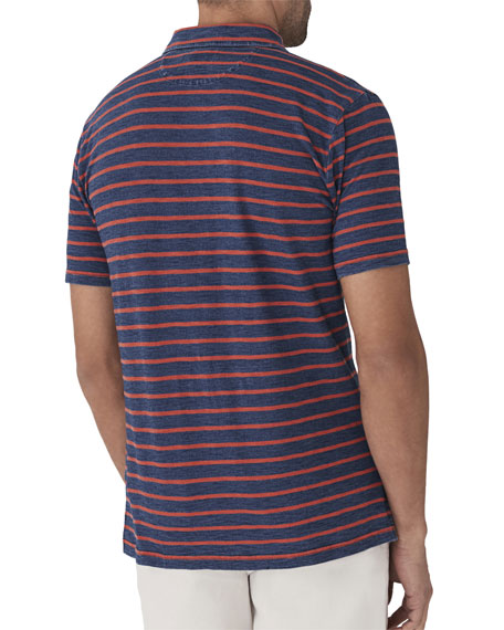 Men's Breton Striped Pocket Polo Shirt