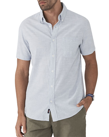 FAHERTY Men'S Pacific Textured Organic Cotton Short-Sleeve Shirt in Summer White Stripe