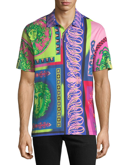 Versace Men's Baroque Tile Print Polo Shirt with