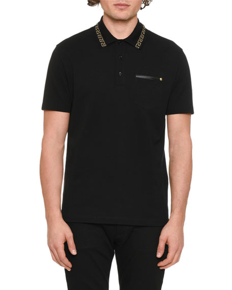 Men's Greek Key-Trim Polo Shirt