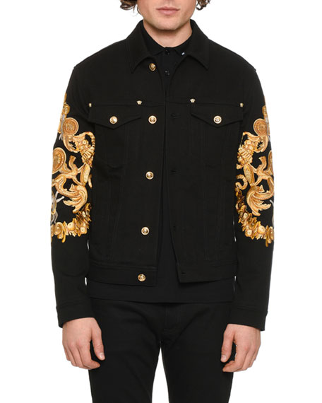 Men's Baroque-Print Denim Jacket