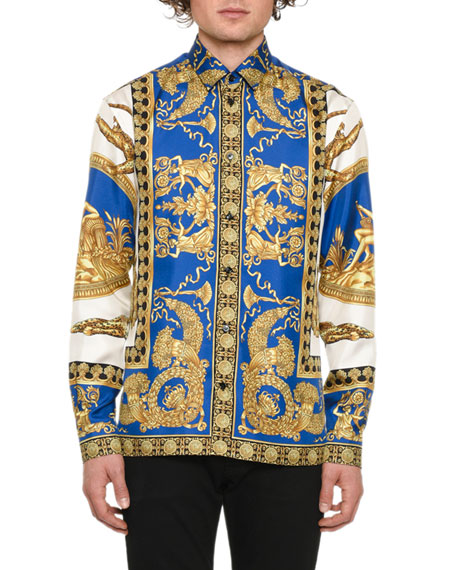 Versace Men's Camicie Graphic Sport Shirt