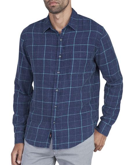 FAHERTY Men'S Ventura Grid-Print Sport Shirt in Indigo Windowpane