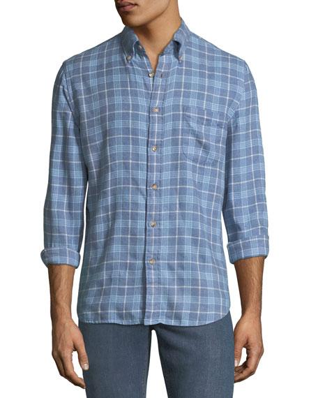 FAHERTY Men'S Pacific Organic Cotton Long-Sleeve Plaid Shirt in Light Blue