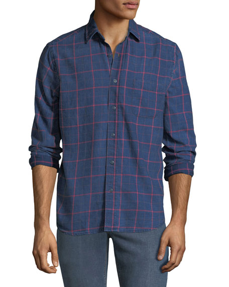 FAHERTY Men'S Ventura Long-Sleeve Cotton Shirt in Blue/Red