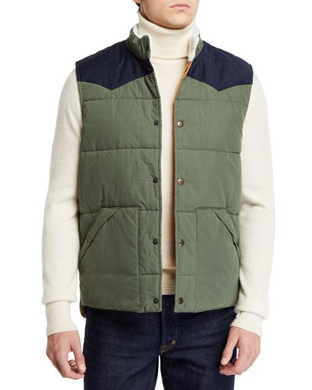 FAHERTY Men'S Western Snap-Front Vest in Green/Blue