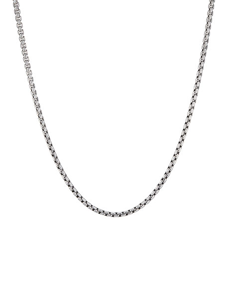 "Men's Small Silver Box Chain Necklace, 22""L"