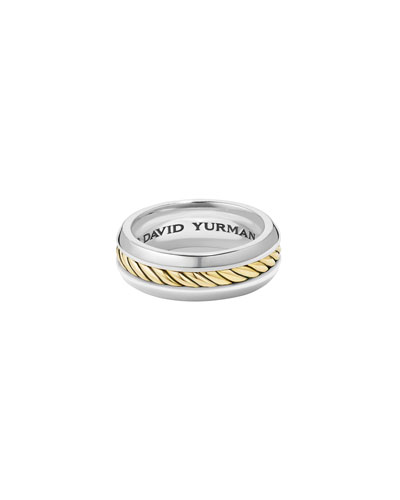 Men's Cable Classic Band Ring w/ 18k Gold, Size 12