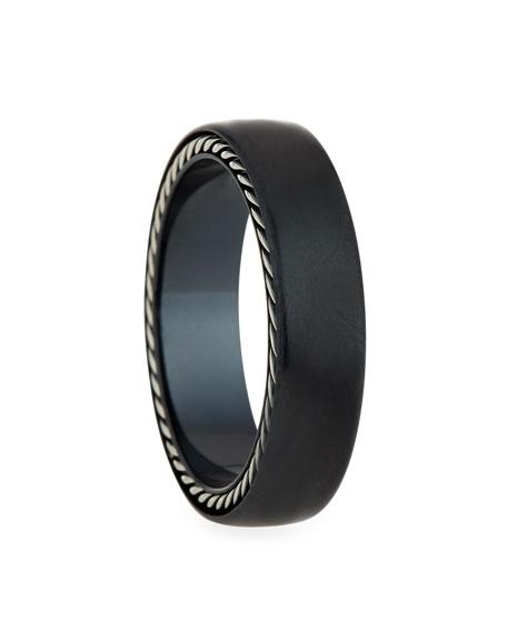 Men's Streamline Narrow Band Ring w/ Black Titanium, Size 11