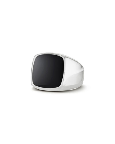Men's Silver Signet Ring with Black Onyx Cushion Inlay