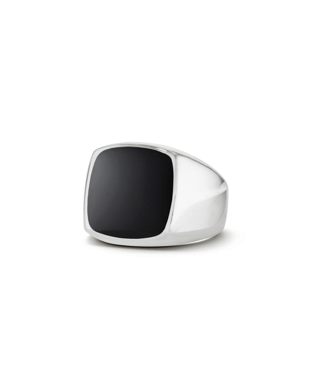 9d982ad4068 David Yurman Men s Silver Signet Ring with Black Onyx Cushion Inlay ...
