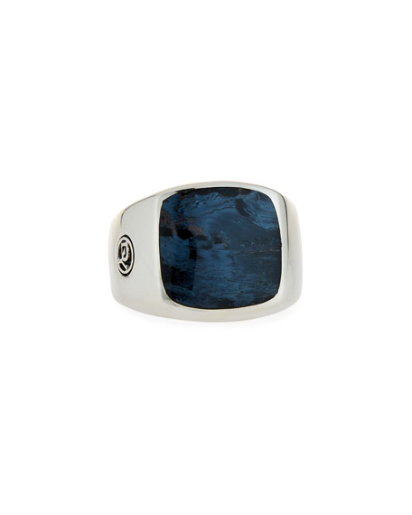 David Yurman Men's Exotic Stone Signet Ring w/