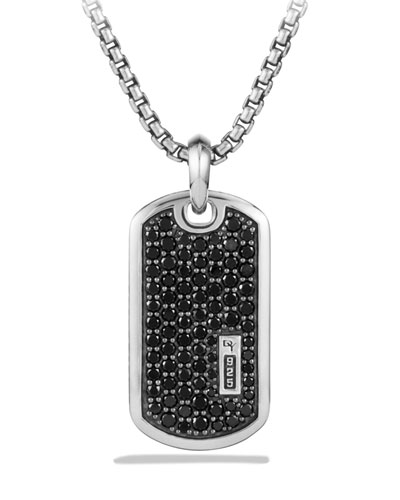 Men's Pavé Tag w/ Black Diamonds