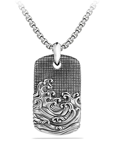 Men's Sterling Silver Waves Tag