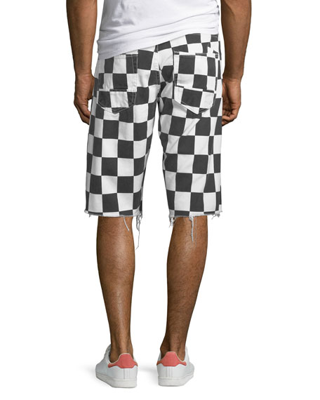 Men's Checkered Denim Shorts