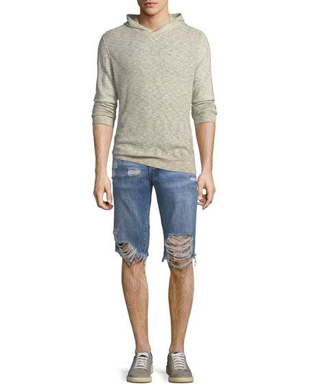 Men's Destroyed Denim Shorts