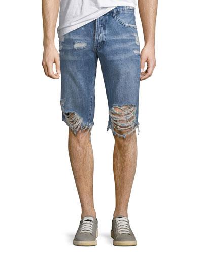 Men's Destroyed Denim Shorts