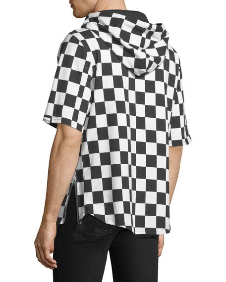 Men's Checkered Short-Sleeve Hoodie