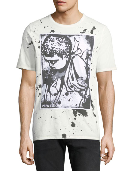 Men's Paint Splattered Cherub-Logo T-Shirt