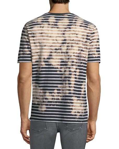 Bleached Striped Short-Sleeve T-Shirt
