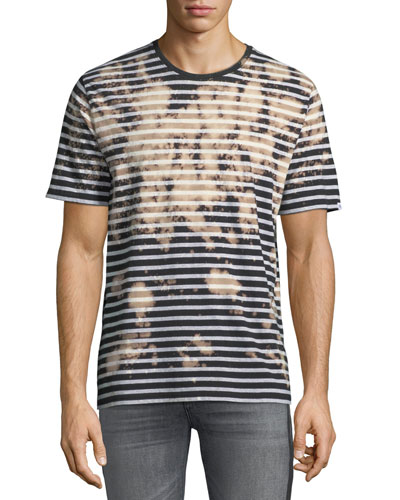 Bleached Striped Short-Sleeve T-Shirt