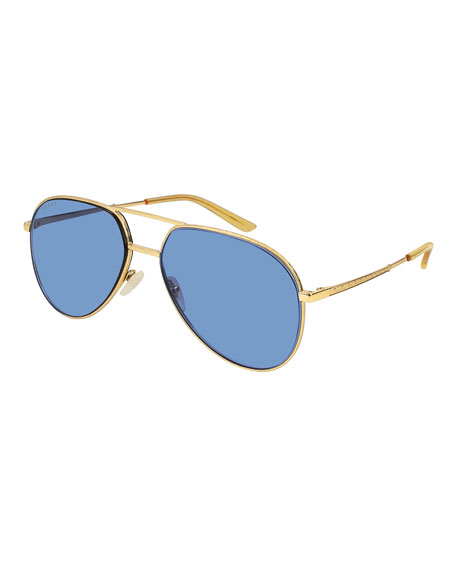 Gucci Men's Metal Aviator Sunglasses