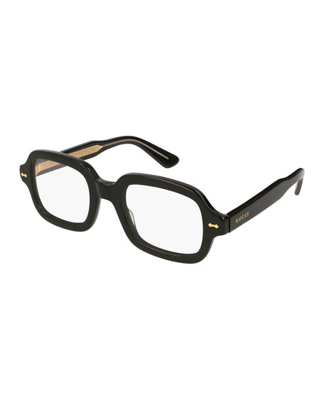 Men's Square Acetate Sunglasses with Clear Sun Lens (Runway Style)