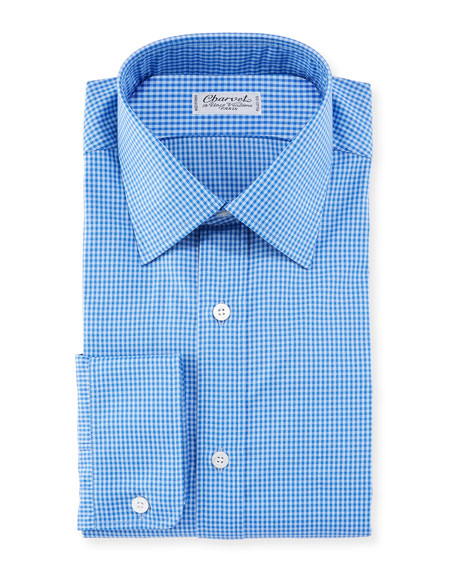 Charvet Men's Tonal Tattersall Cotton Dress Shirt