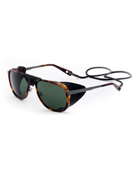 Men's Glacier XL Polarized Sunglasses w/ Removable Leather Side Case