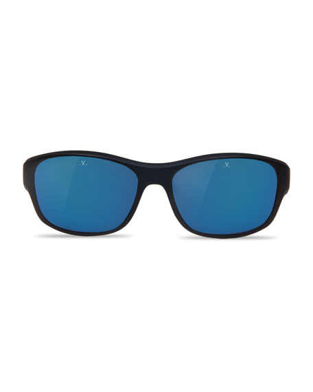 Men's Matt Mirror Nylon Wrap Sunglasses with Removable Strap