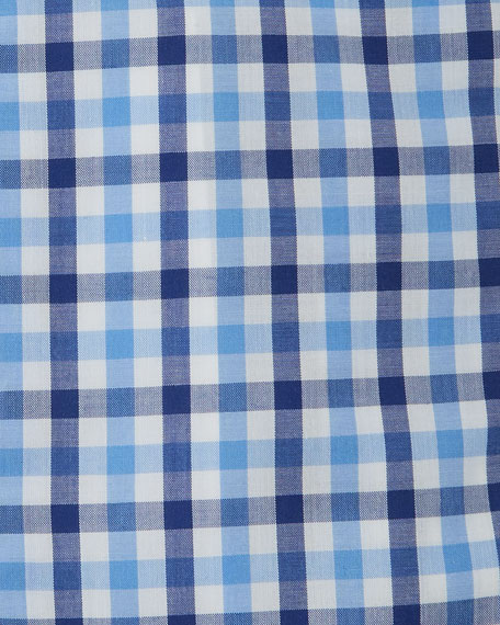Men's Check Dress Shirt, Blue