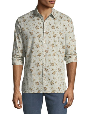 2f621cd185 John Varvatos Star USA Men's Floral Button-Down Cotton Shirt