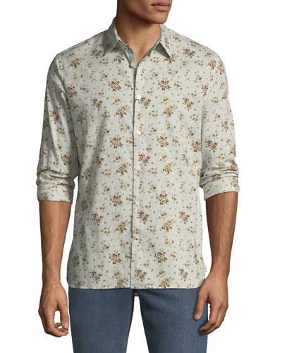 Men's Floral Button-Down Cotton Shirt