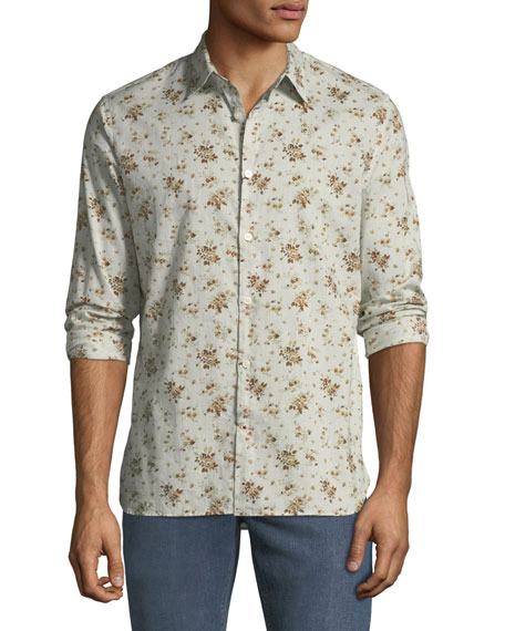 John Varvatos Star USA Men's Floral Button-Down Cotton