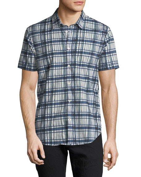 John Varvatos Star USA Men's Plaid Short-Sleeve Sport