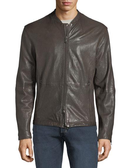 Men's Irregular Triple-Needle Stitch Leather Racer Jacket