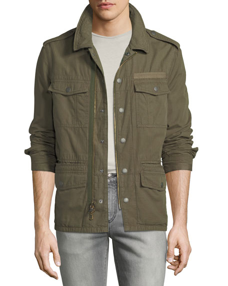Men's Garment-Dyed Field Jacket with Dragon