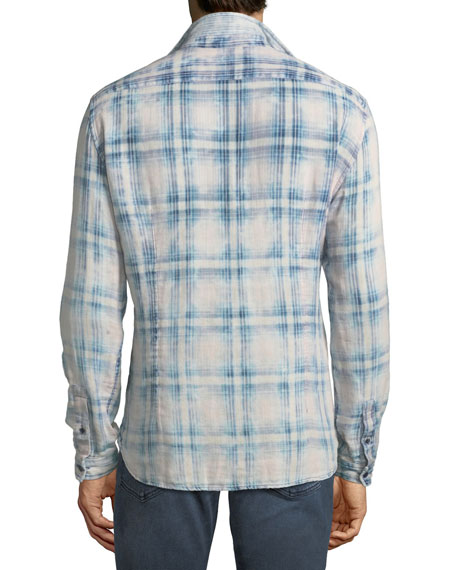 Men's Reversible Plaid/Pinstripe Sport Shirt