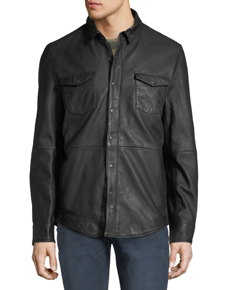 Men's Oiled Leather Western Shirt Jacket