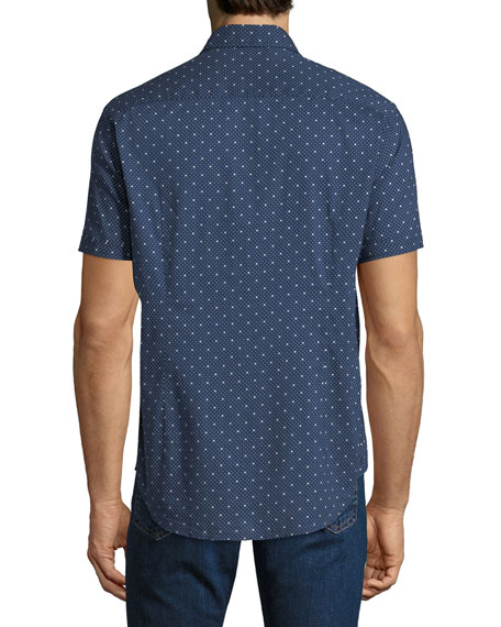 Men's Star-Print Short-Sleeve Sport Shirt