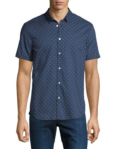 Men's Star-Print Short-Sleeve Sport Shirt