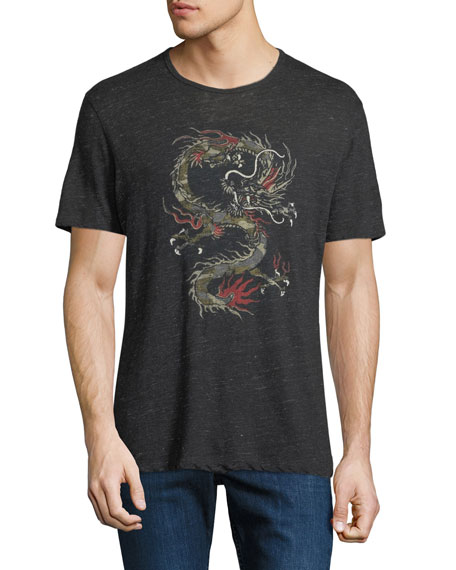 Men's Dragon Graphic Linen T-Shirt