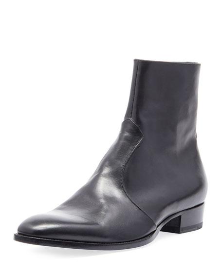 Men'S Wyatt 30 Side-Zip Leather Ankle Boots in Black