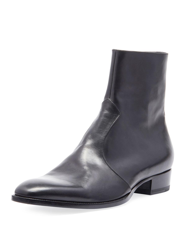 Saint Laurent Men s Wyatt 30 Side-Zip Leather Ankle Boots  7504c5740