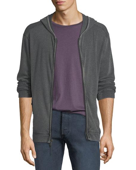 Men's Waffle-Knit Zip-Front Hoodie