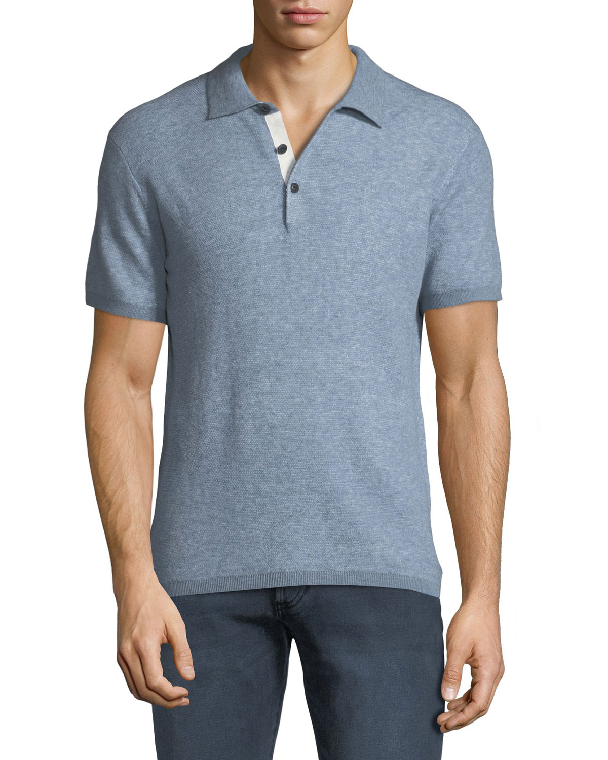 Rag   Bone Men s Tripp Heathered Cotton Wool Polo Shirt  a2113aa44dd